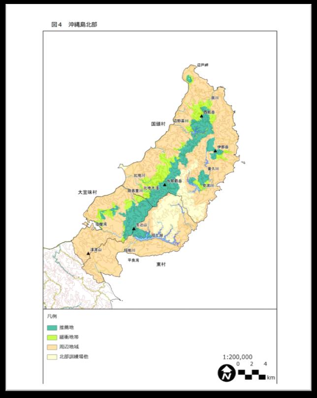 沖縄県北部のいびつで不自然な管理計画対象地地図